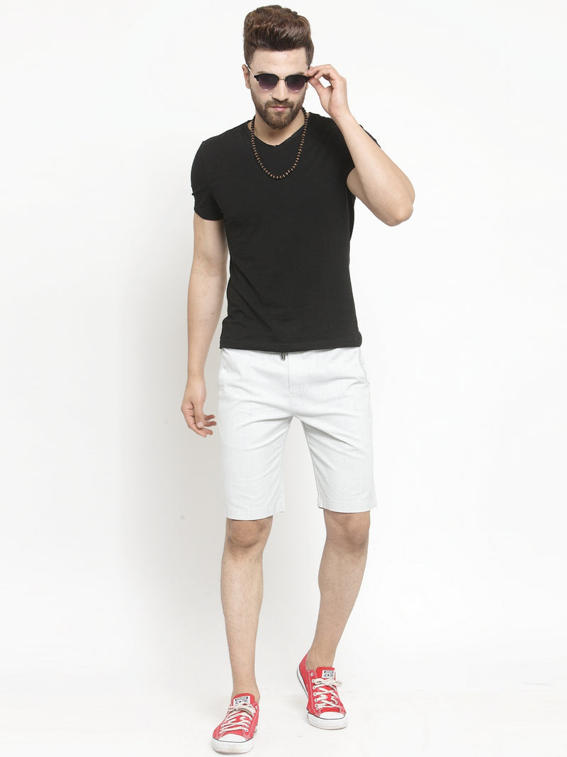 Mens Off White Solid Regular Fit Shorts
