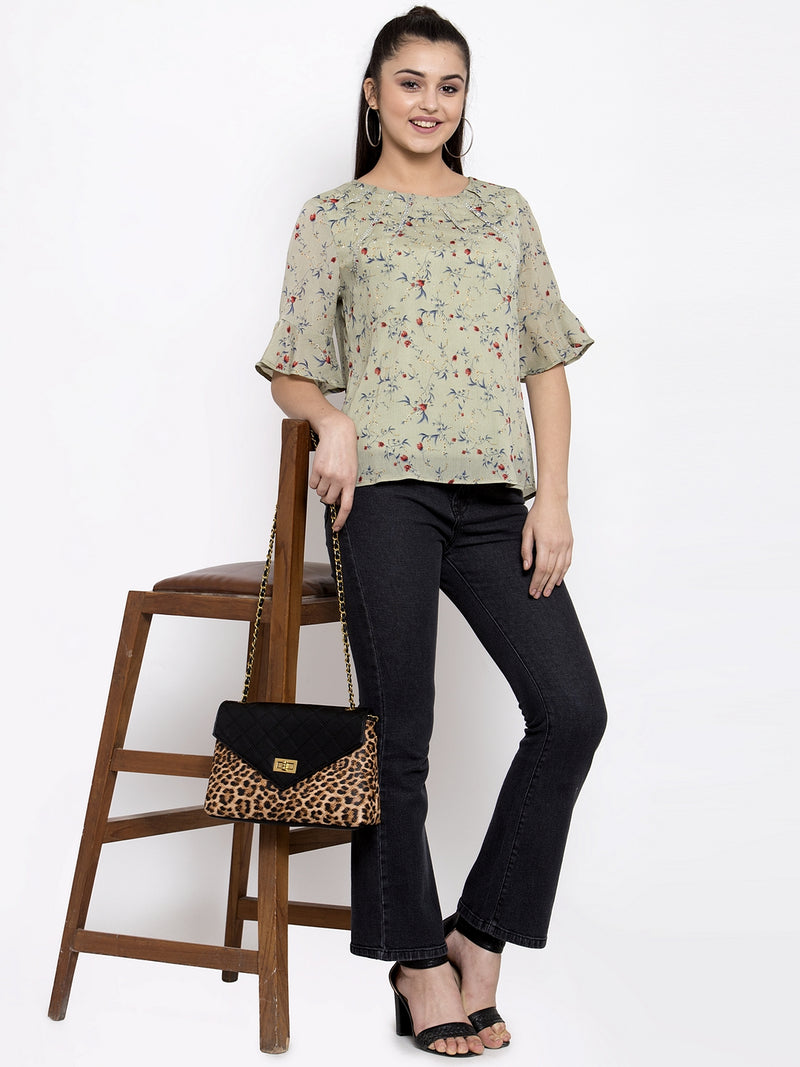 Women Floral Printed Green Top With Round Neck