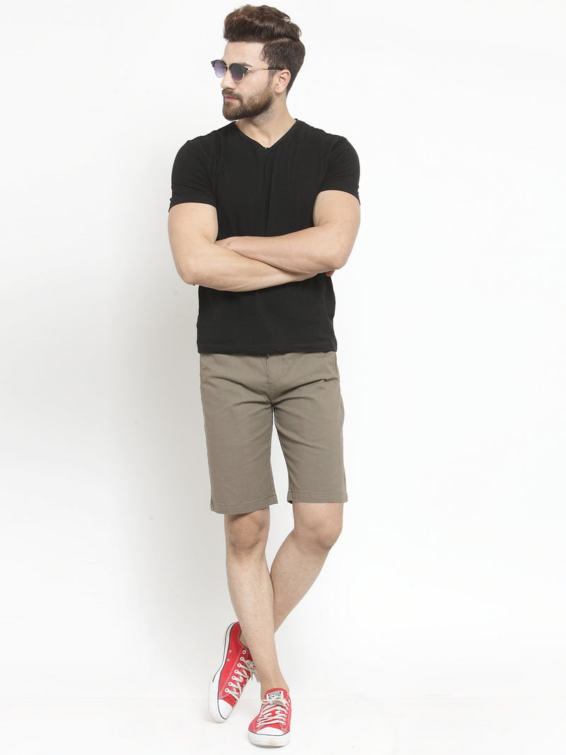 Mens Coffee Brown Solid Regular Fit Shorts