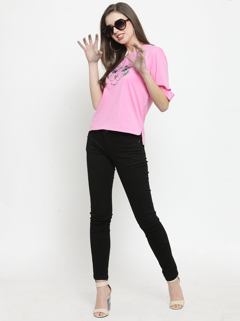 Women Pink Printed Round Neck Regular Fit Tops