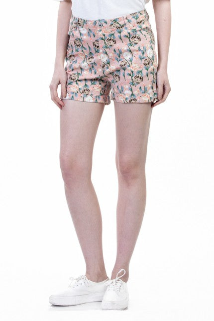 Women Floral Printed Peach Cotton Shorts