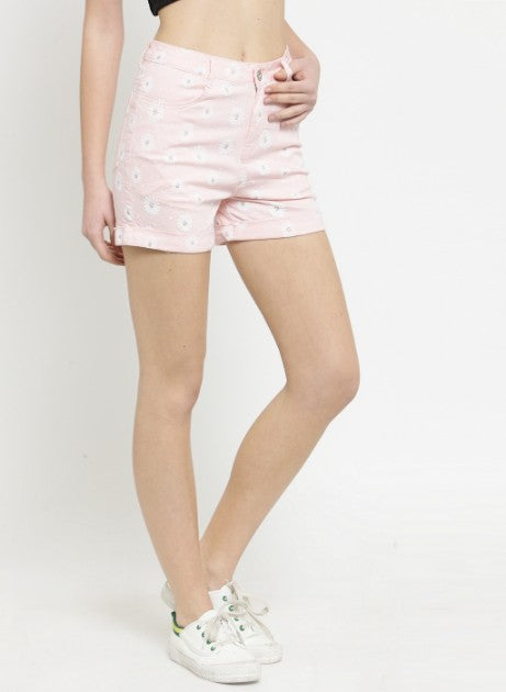 Women Floral Printed Pink Cotton Shorts