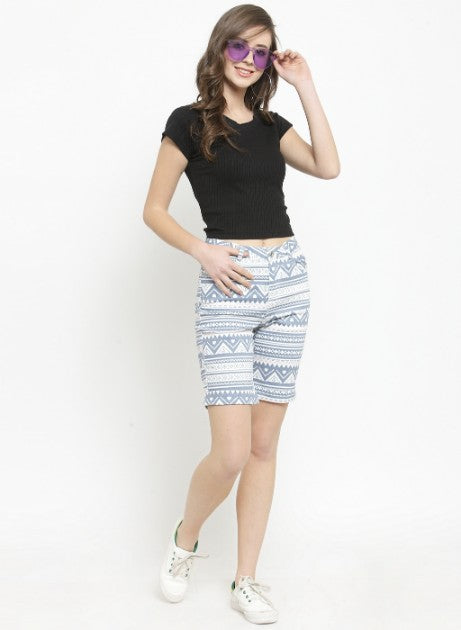 Women Grey Printed Cotton Shorts