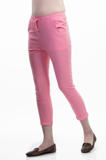 Women Pink Solid Lower With Drawstring