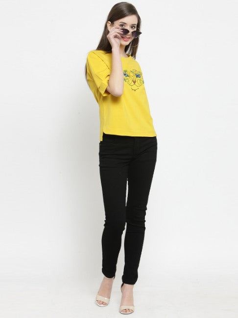 Women Mustard Printed V-Neck Fit And Flared Tops