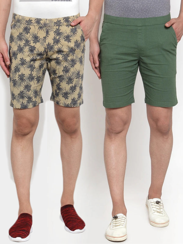 Mens Printed Beige And Plain Olive Combo Of 2 Shorts