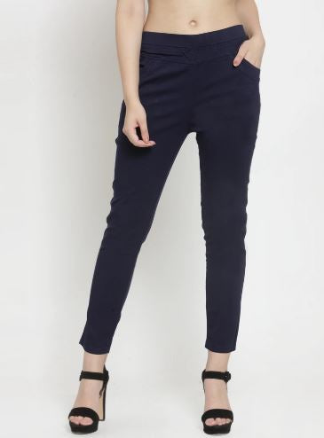 Check Black And Plain Navy Blue Combo Of 2 Jeggings