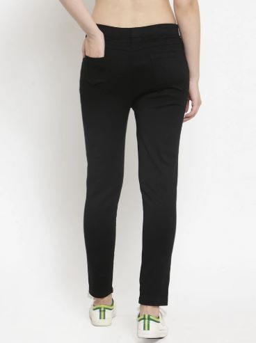 Women Plain Black And Brown Combo Of 2 Mid-Rise Jegging