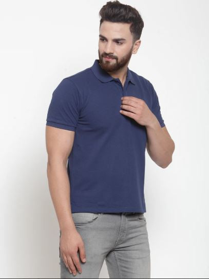 Mens Plain Indigo And Pink Combo Of 2 Polo T-Shirts