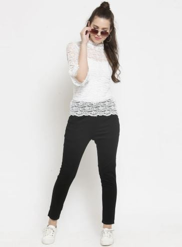 Check Black And Plain Black Combo Of 2 Jeggings