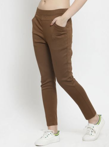 Women Plain Brown And White Combo Of 2 Mid-Rise Jegging