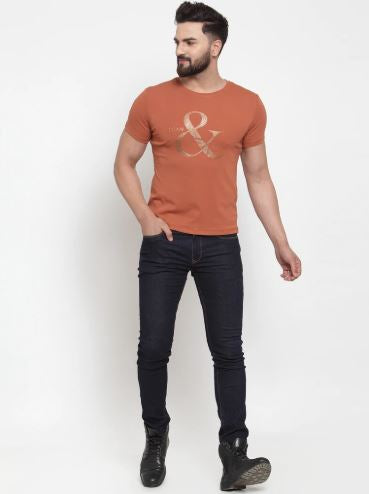 Mens Printed Tan And White Combo Of 2 T-Shirts