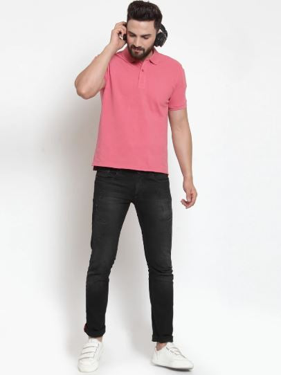 Mens Plain Pink And Red Combo Of 2 Collar T-Shirts