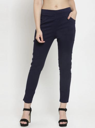 Women Plain Navy Blue And Rust Combo Of 2 Mid-Rise Jegging