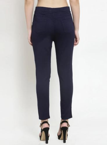 Plain Navy Blue And Camel Combo Of 2 Jeggings
