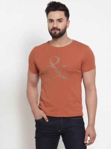 Mens Printed White And Tan Combo Of 2 T-Shirts