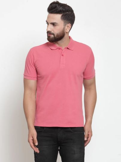 Mens Plain Navy And Pink Combo Of 2 Polo T-Shirts