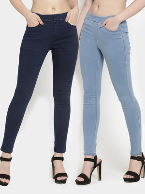 Denim Dark Blue and Light Blue Combo of 2 Jeggings