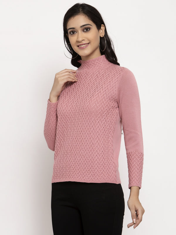 Women Pink High Neck Solid Marino Wool Pullover