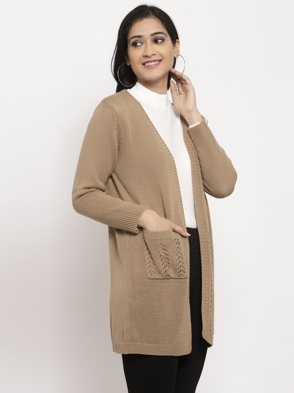 Women Khaki Solid Shrug