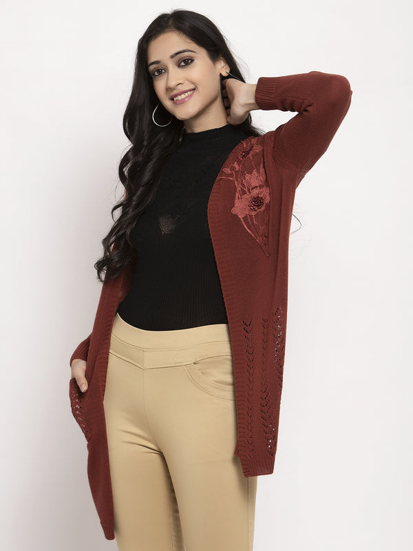 Women Rust Solid Shrug