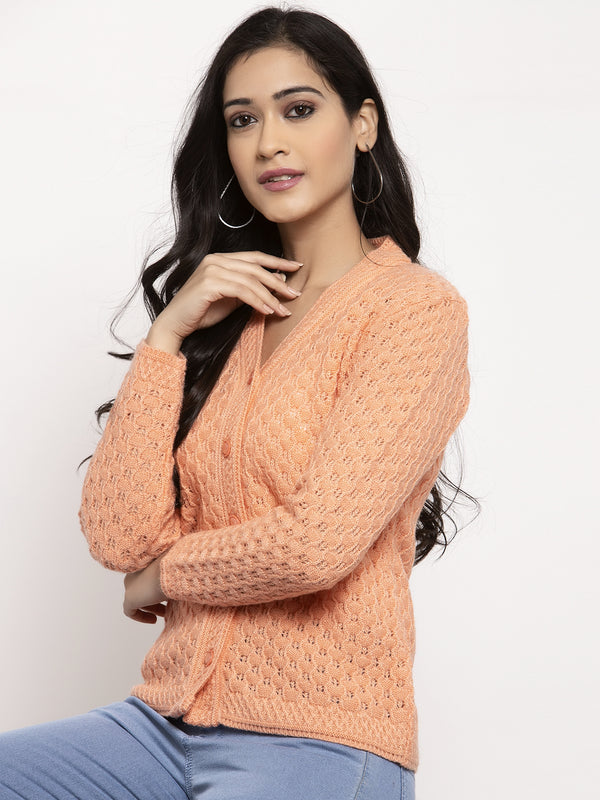 Women Peach V-Neck Cardigan