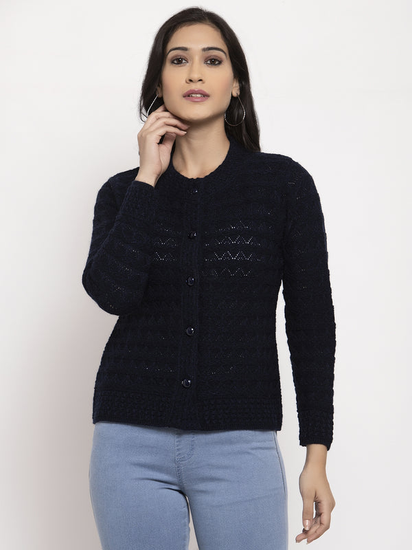 Women Navy Blue Round Neck Cardigan