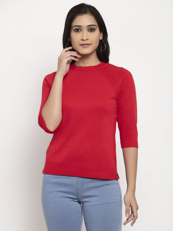 Women Red Round Neck Pullover