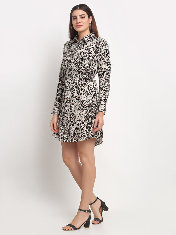 Women Brown Shirt Collar Printed Tunic