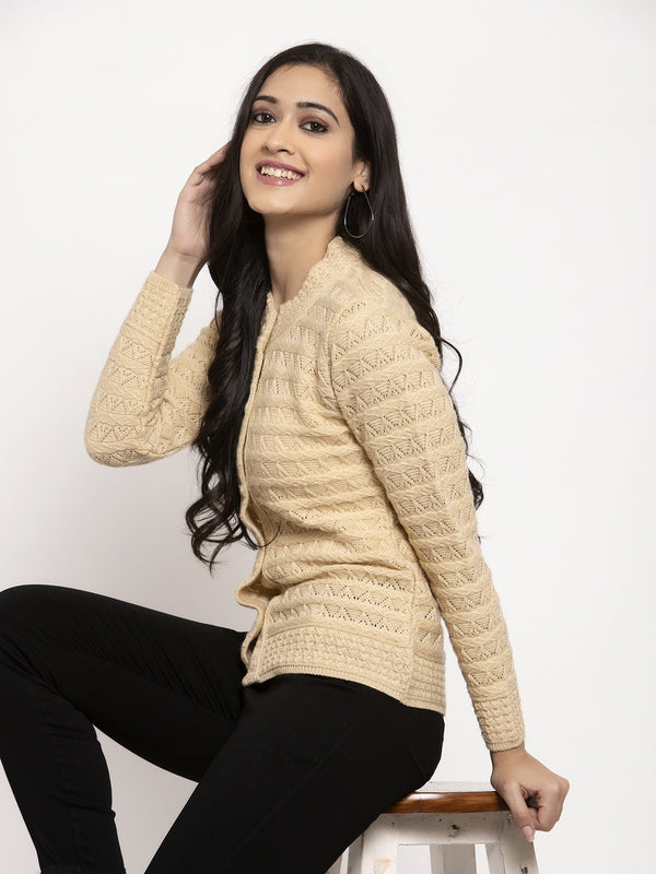 Women Camel Brown Round Neck Cardigan