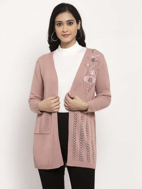 Women Pink Solid Shrug