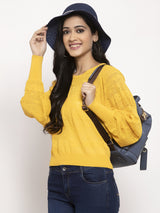 Women Mustard Round Neck Top