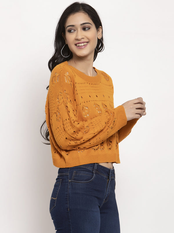 Women Orange Round Neck Pullover