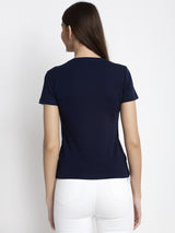 Women Printed Blue T-Shirt