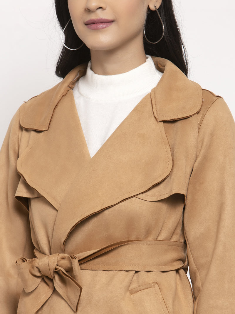 Women Khaki Collared Jacket