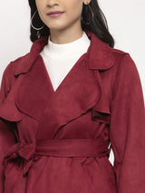 Women Maroon Collared Jacket