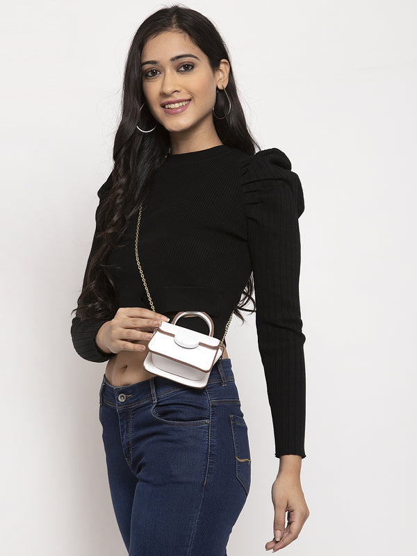Women Black Round Neck Pullover