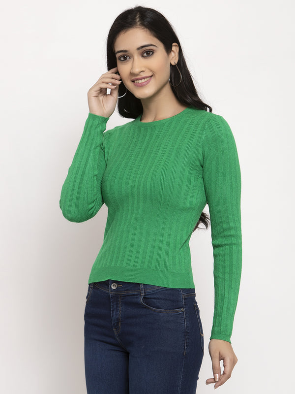 Women Rama Green Round Neck Pullover