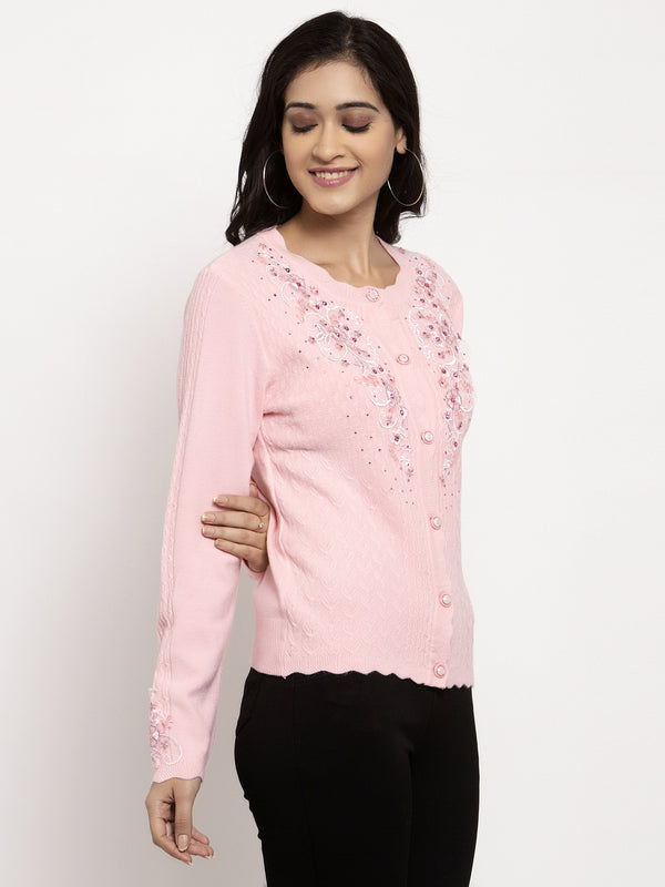 Women Pink Round Neck Embroidered Cardigan