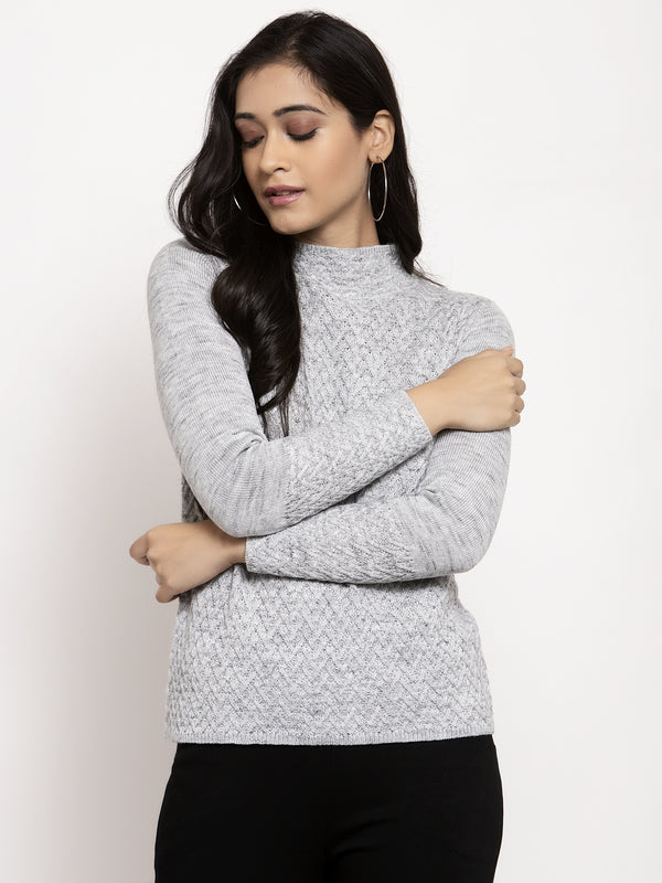 Women Grey High Neck Solid Marino Wool Pullover