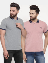 Mens Plain Grey And Red Combo Of 2 T-Shirts