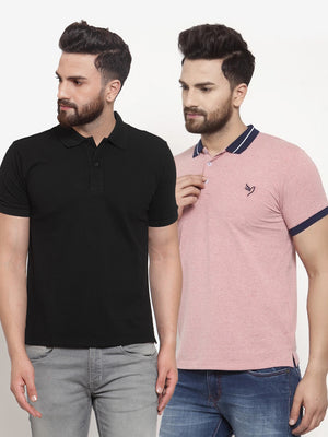Mens Plain Black and Red Combo of 2 Collar T-Shirts