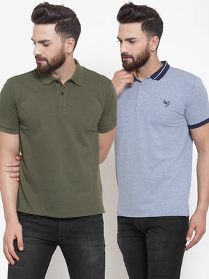 Mens Plain Olive and Sky Combo of 2 Collar T-Shirts