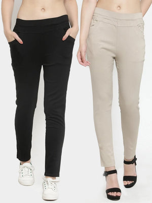 Plain Black and Camel Combo of 2 Jeggings
