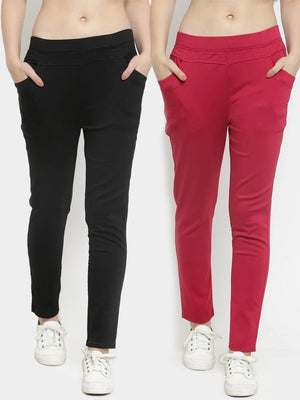Plain Black and Maroon Combo of 2 Jeggings