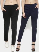 Women Plain Black And Navy Blue Combo Of 2 Mid-Rise Jegging