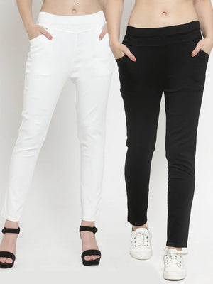 Plain Black and White Combo of 2 Jeggings