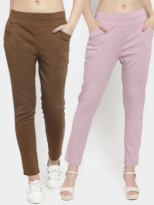 Plain Brown and Onion Combo of 2 Jeggings