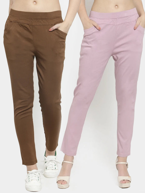 Women Plain Brown And Onion Pink Combo Of 2 Mid-Rise Jegging