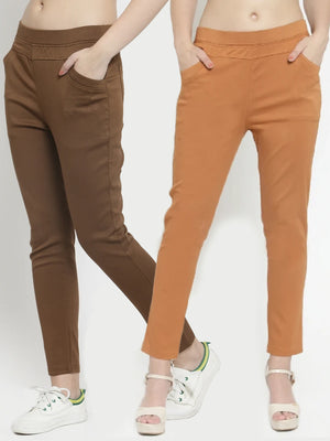 Plain Brown and Rust Combo of 2 Jeggings
